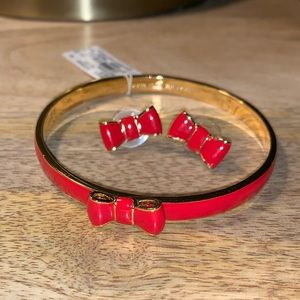 Kate Spade Red Hot Bracelet and Stud Earrings